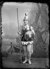 Portrait of a young woman dressed as Boadecia or Mother England photo by Powerhouse Museum Collection