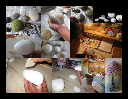 preparation and painting stones photo by stone illustrations