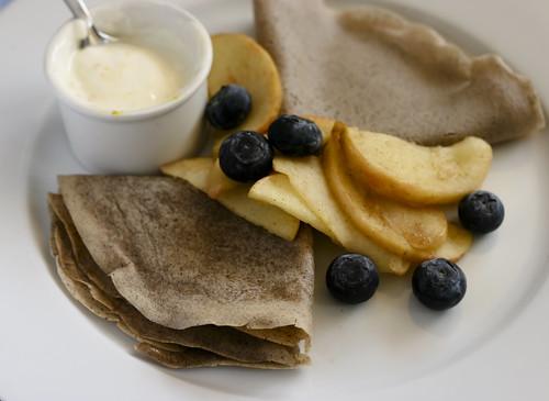 Crepes with Orange Marmalade, Fruit and Yogurt