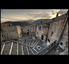 View from the Steps of Chiesa Matrice di San Marco, Castel del Monte, Abruzzo photo by BoblyP