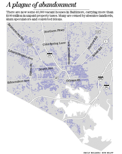 Map of vacant houses in Baltimore