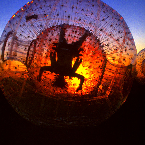 Zorb at sunset.