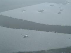 Ice melting on the lake