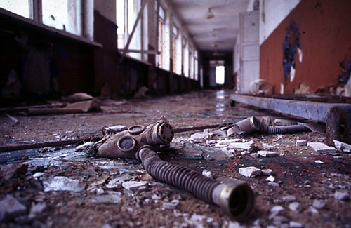 Greenpeace Photo: a deserted secondary school near Chernobyl, Ill