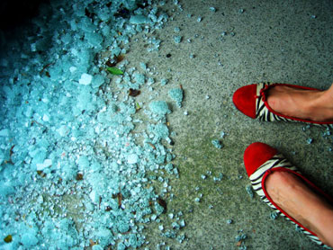 broken glass and shoes
