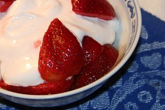 strawberries w/ cassis and greek yogurt