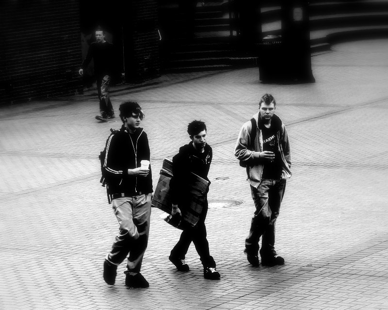 Pioneer Square Teens in Black and White