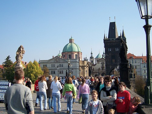 Tourist Pose on Charles Bridge, Prague.