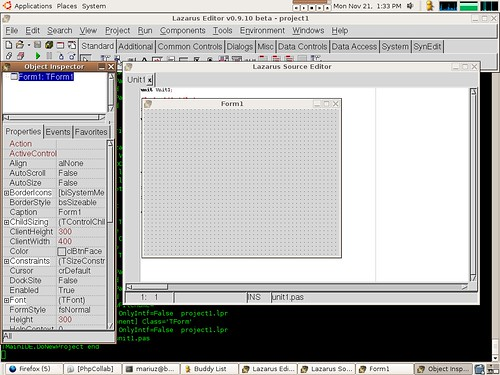 lazarus (free pascal delphi like ide) on ubuntu (amd64)