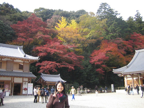 hills and a 神社 behind me