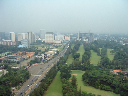 Out the hotel window looking at Plaza Senayan