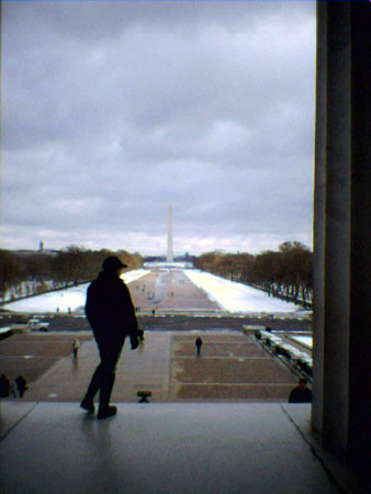 View of snowy DC from Lincoln Memorial