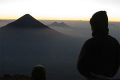 Sunrise over Volcan Agua and Pacaya