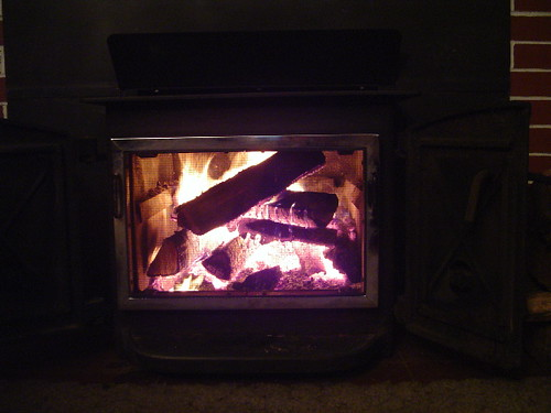 wood stove in action