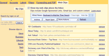 Web Clips Settings