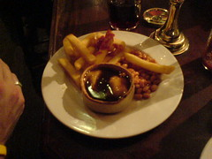Chicken & Mushroom pie with chips & beans at Berts Bar, Stockbridge, Edinburgh