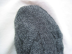 Grey Cabled Socks - toe detail