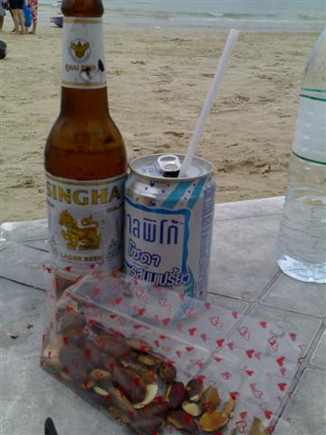 Singha Beer, Calpis Soda (in Thai), and Bok