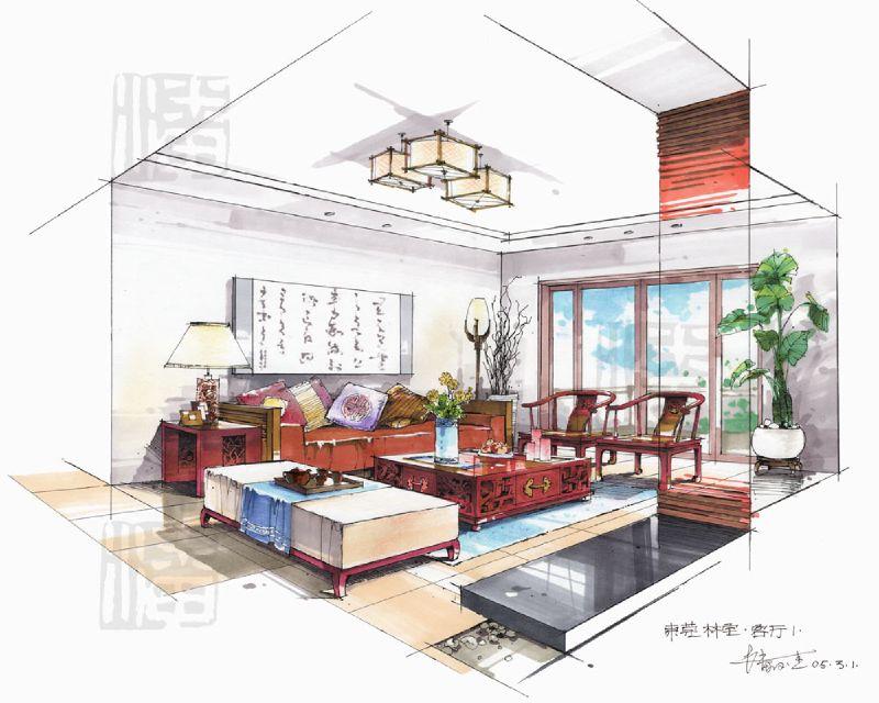 潘俊杰-马克笔中式客厅