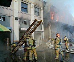 LAFD battles 7th Street Market Fire on January 23, 2006.