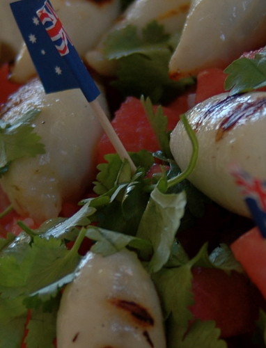 patriotic coriander and watermelon salad with fennel risotto stuffed baby squid