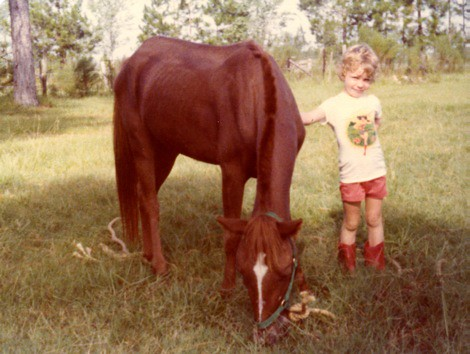 Me, at age 4 (1977), with our horse we named Yogurt