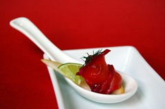 Beetroot Cured Salmon with Sliced Pear and Lime: Spoon Style© by haalo