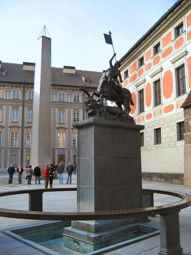 Prague Castle Statue of St. George and Obelisk by Josef Plecnik