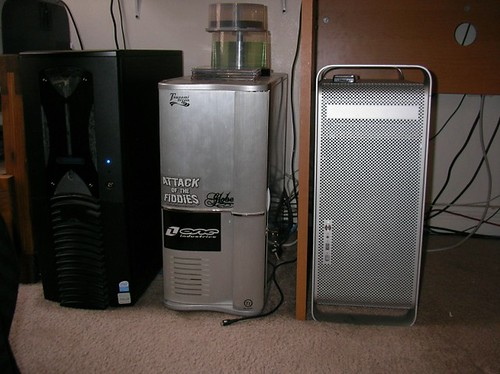 From left to right, Server, Personal Desktop, Mac G5 for Graphics