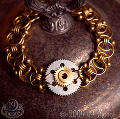 PLANETARY GEAR Vintage Steampunk Bracelet by 19 Moons Clock Gear Handmade Bead Chain photo by 19moons