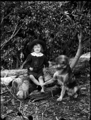 Portrait view of child wearing a sun hat, with dog and toy cat (different angle) photo by Powerhouse Museum Collection