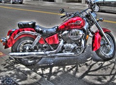 Silver Chrome Reflections of Me in a Red American Shadow Motorcycle, Handheld HDR photo by Walker Dukes