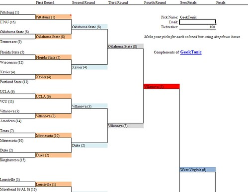 NCAA Tourney Excel 2009