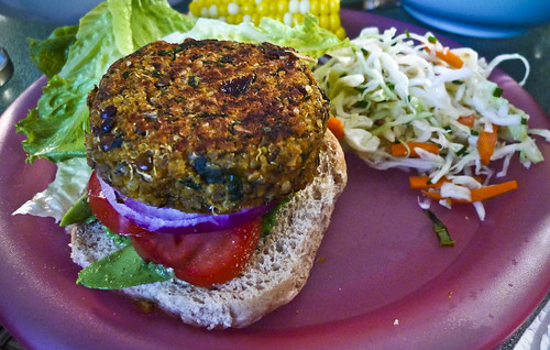 Dinner: Sweet Potato Burger and Cabbage Slaw