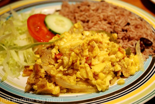 Jerk City - Ackee and saltfish with rice and peas £7 (salted cod fish with onions, sweet peppers and ackee, a fruit used as a vegetable)
