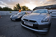 Grey Nissan GTR And Black Fabio At The Ace Cafe photo by NWVT.co.uk