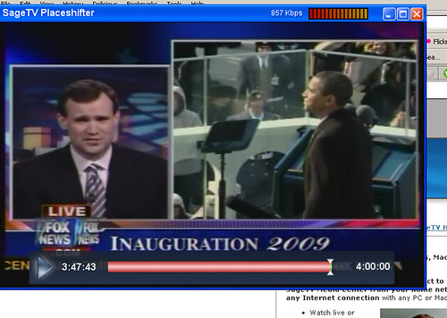 Watching Inaguration with SageTV Placeshifter