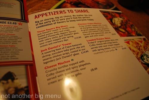 TGI Covent Garden - menu