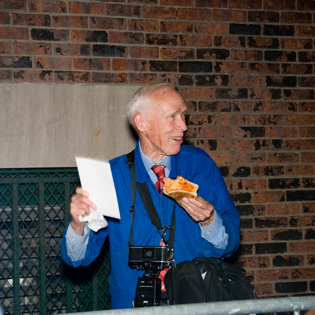 Bill Cunningham with MJ Invite - and a Slice of Ray's Pizza