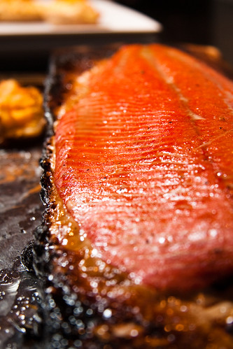 Honey & Bourbon Glazed Planked Salmon