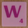 Scrabble pink tile letter W
