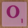 Scrabble pink tile letter O