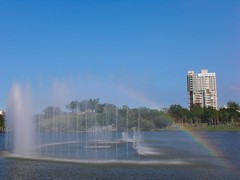 Rainbow above the dancing waters