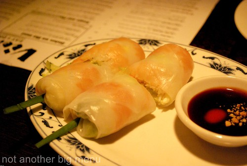 Goi cuon - Fresh soft summer rolls filled with king prawn,herbs and salad wrapped in rice paper £3.50