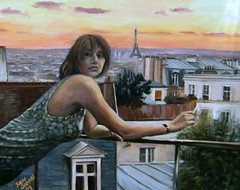My painting Montmartre Evening better lighting here I think. photo by Captain Wakefield