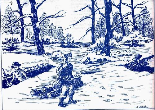 1944 - Franche Comté- Bois de Fresse en novembre- Illustration de Jean Coquil 1(Capitaine au BM 5)