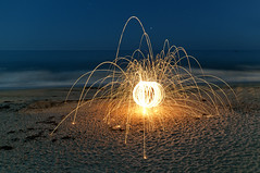 Steel Wool Sparks on the Beach photo by Photo Extremist