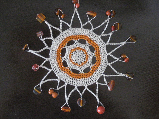 Beaded Sunburst Glass Cover -- A pattern from the library of the