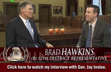 Rep. Brad Hawkins interviews Gov. Jay Inslee