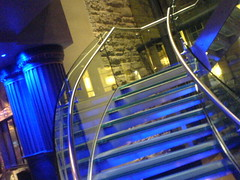 Stairs linking ground floor to upper Paris bar in Le Monde on Edinburgh's George St